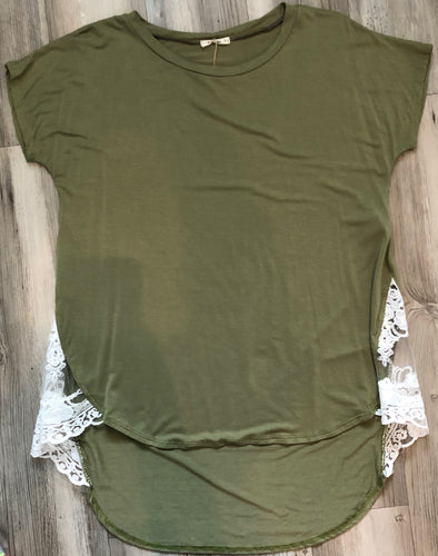 Olive shirt with side detail
