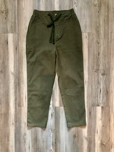 Army green straight leg pants