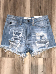High rise distressed denim