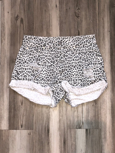 Animal print distressed denim