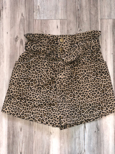 High waisted animal print denim