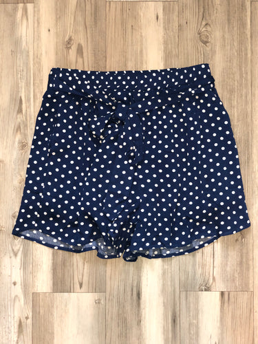 Navy polka dot shorts