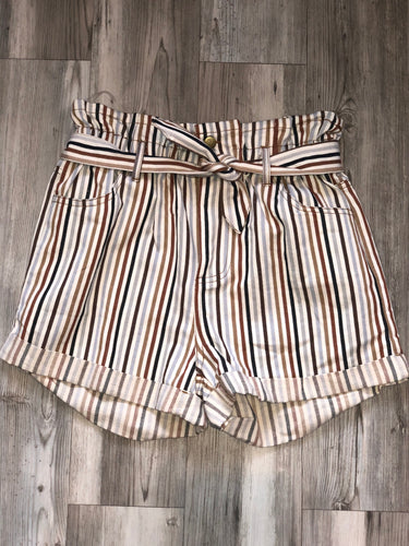 High waisted multi color stripped shorts