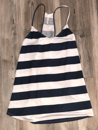 Blue/white stripped tank