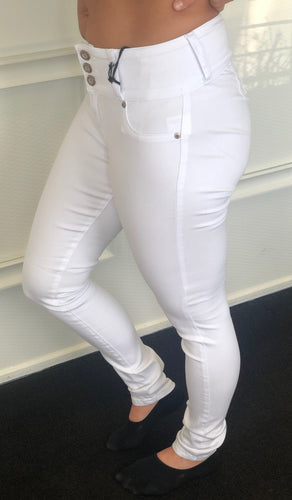 White High-rise pants