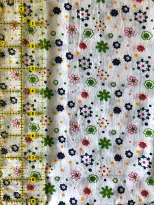White Petite Floral Pattern Cotton 1 Yard