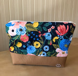Blue Rifle Paper Floral Zipper Bag