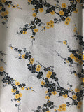 Blue Cherry Blossom Silk-Like Fabric