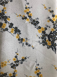 Blue Cherry Blossom Silk-Like Fabric 1/2 Yard
