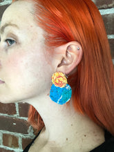 Load image into Gallery viewer, Pink and Blue Double Fabric Earrings