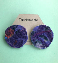 Load image into Gallery viewer, Purple Circular Fabric Earrings