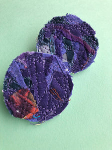 Purple Circular Fabric Earrings