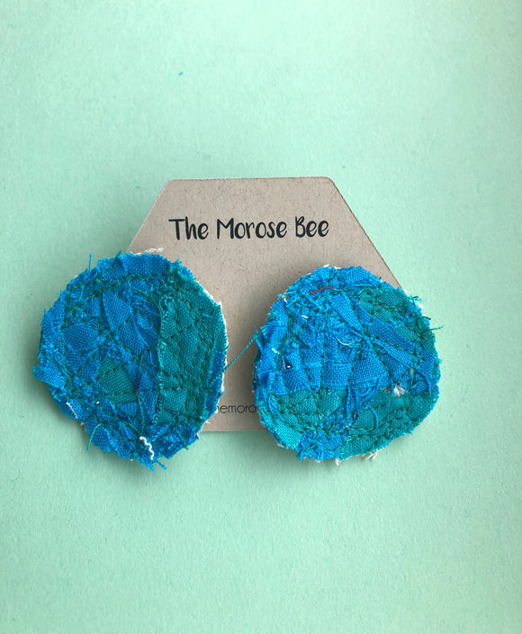Cool Tone Circular Fabric Earrings