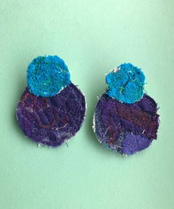 Blue and Purple Double Fabric Earrings