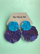 Load image into Gallery viewer, Blue and Purple Double Fabric Earrings