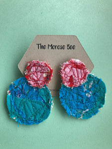 Pink and Blue Double Fabric Earrings