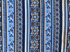Vintage Blue and Brown Cotton