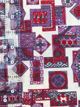 Load image into Gallery viewer, 1.5 Yards Red & Purple Geometric Vintage Cotton Fabric