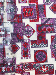 1.5 Yards Red & Purple Geometric Vintage Cotton Fabric