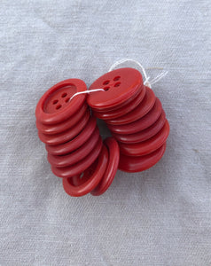 Vintage Set of 16 Matching Red Buttons