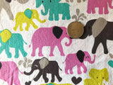 Colorful Elephant Cotton Fabric 1/2 Yard