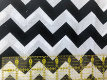 Load image into Gallery viewer, Black and White Chevron Cotton