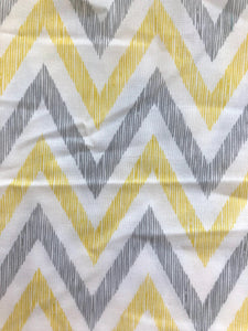Yellow & Grey Chevron Cotton 1 Yard