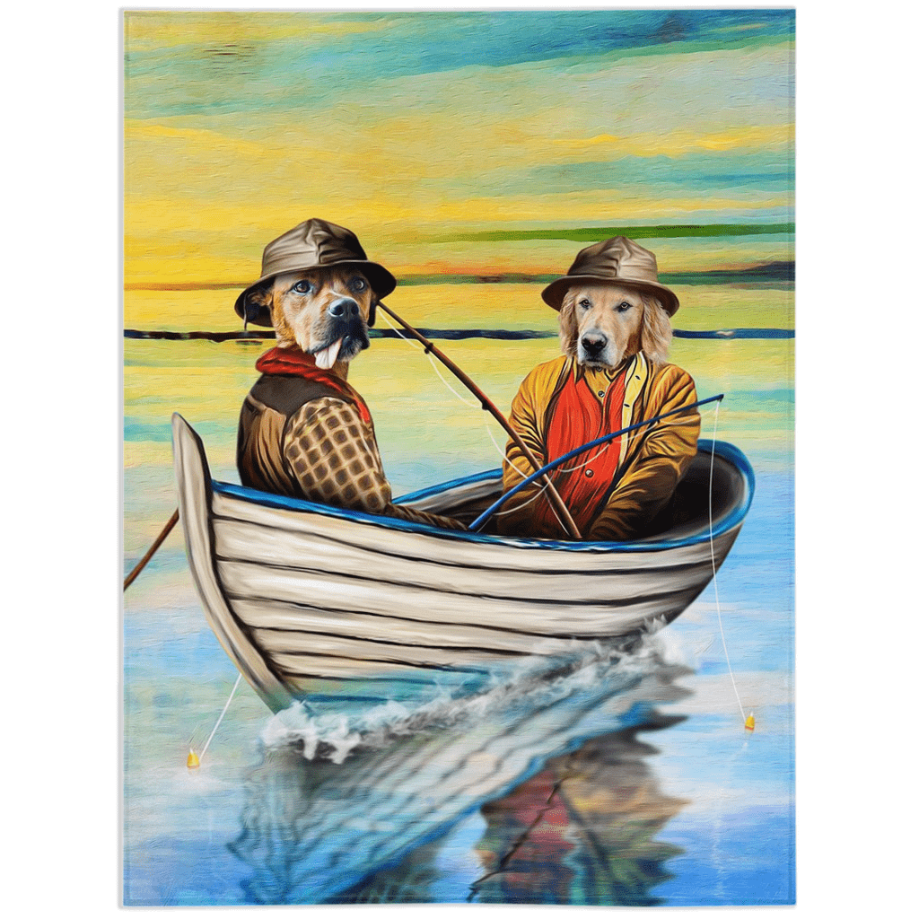 'The Fishermen' Personalized 2 Pet Blanket