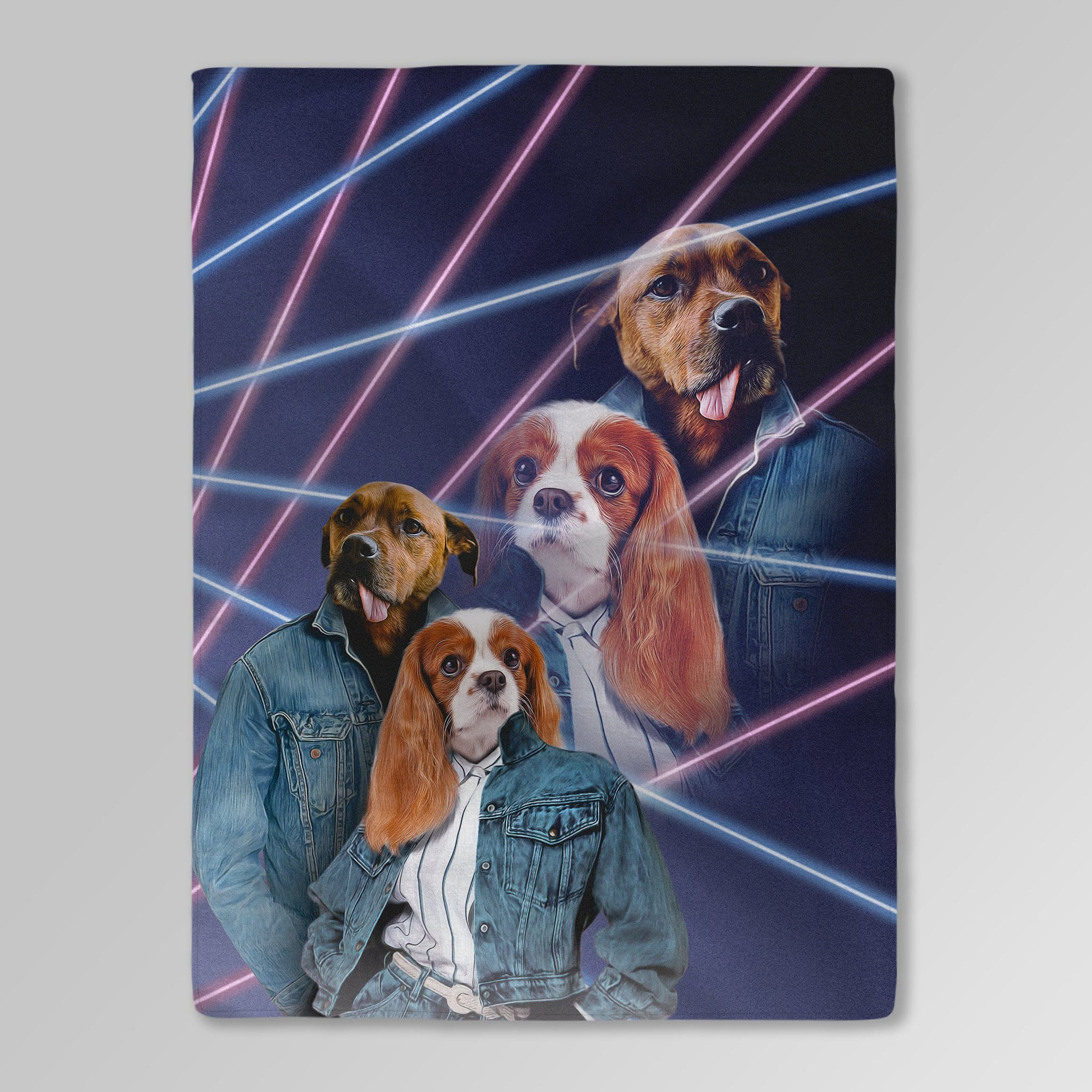 '1980s Lazer Portrait' Personalized 2 Pet Blanket