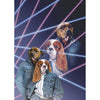 '1980s Lazer Portrait' Personalized 2 Pet Digital Portrait