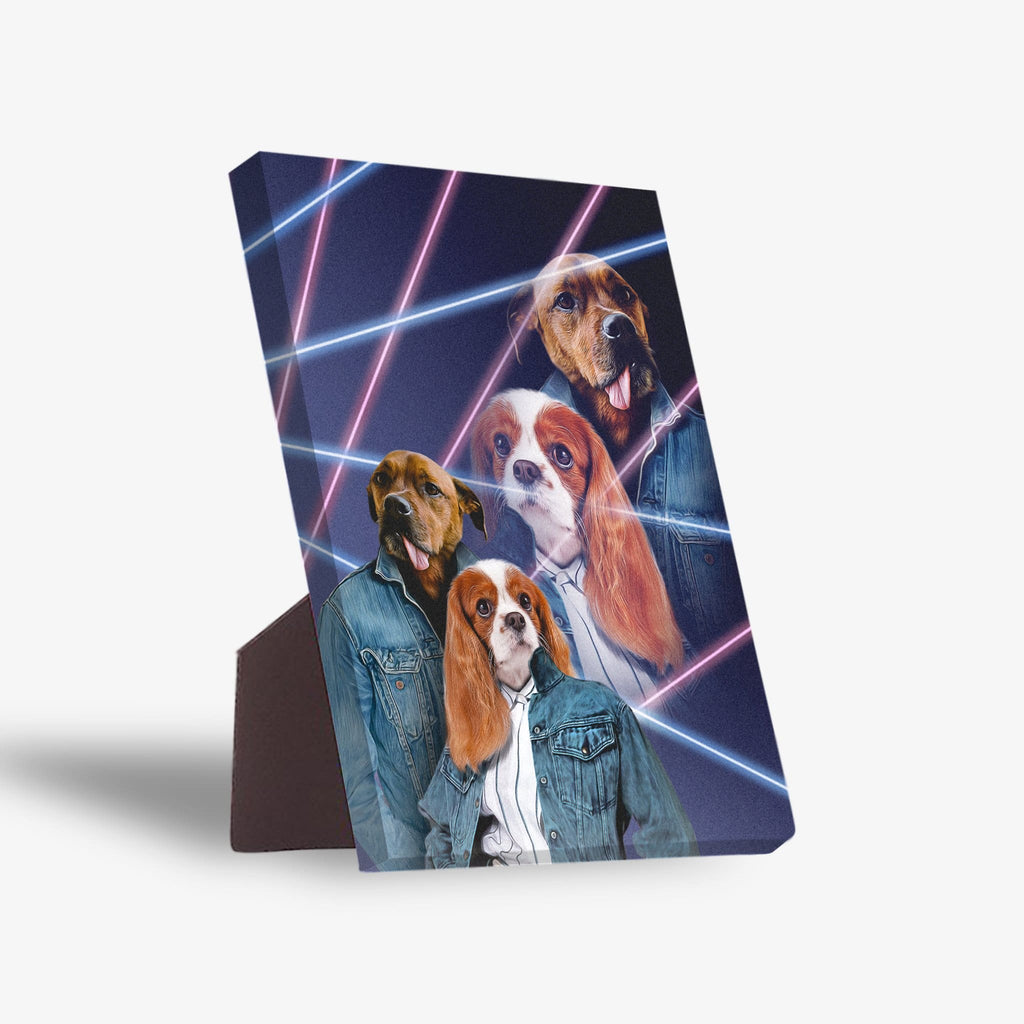 '1980s Lazer Portrait' Personalized 2 Pet Standing Canvas
