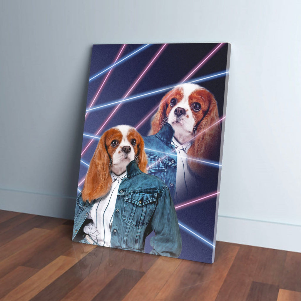 '1980s Lazer Portrait (Female)' Personalized Pet Canvas