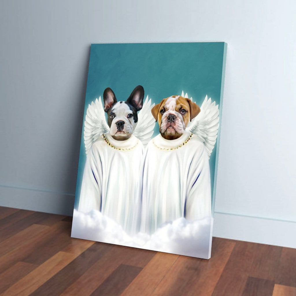 '2 Angels' Personalized 2 Pet Canvas