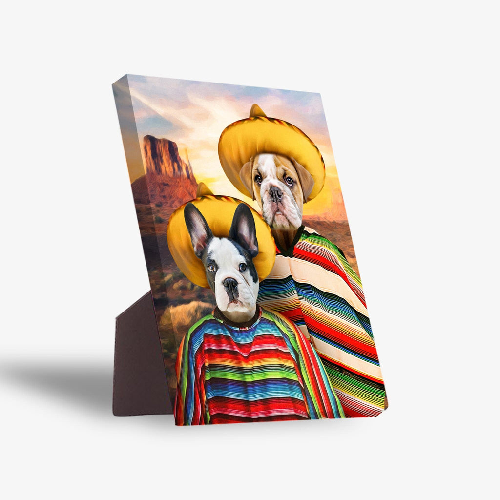 '2 Amigos' Personalized 2 Pet Standing Canvas