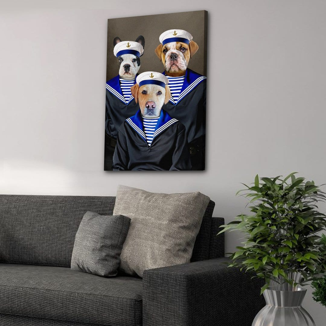 'The Sailors' Personalized 3 Pet Canvas