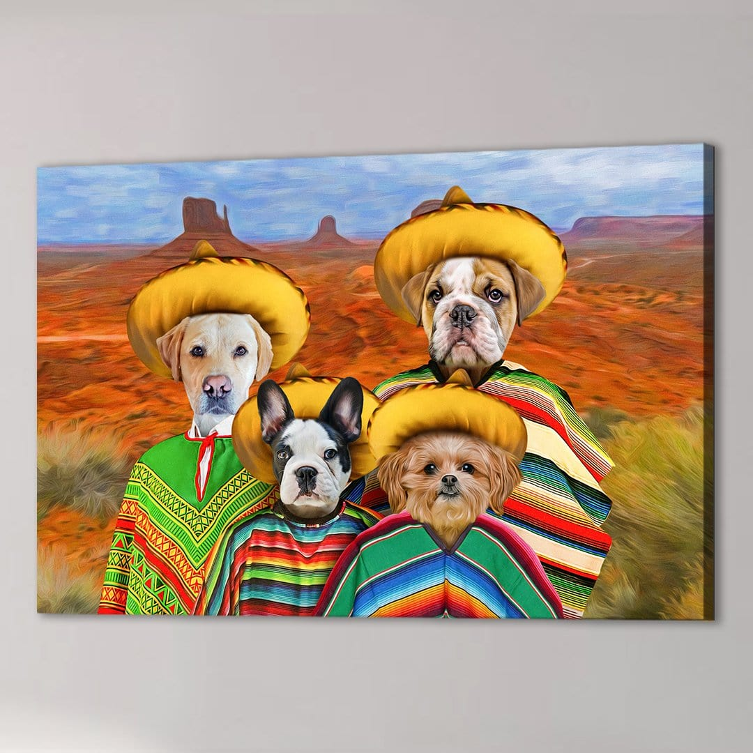'4 Amigos' Personalized 4 Pet Canvas