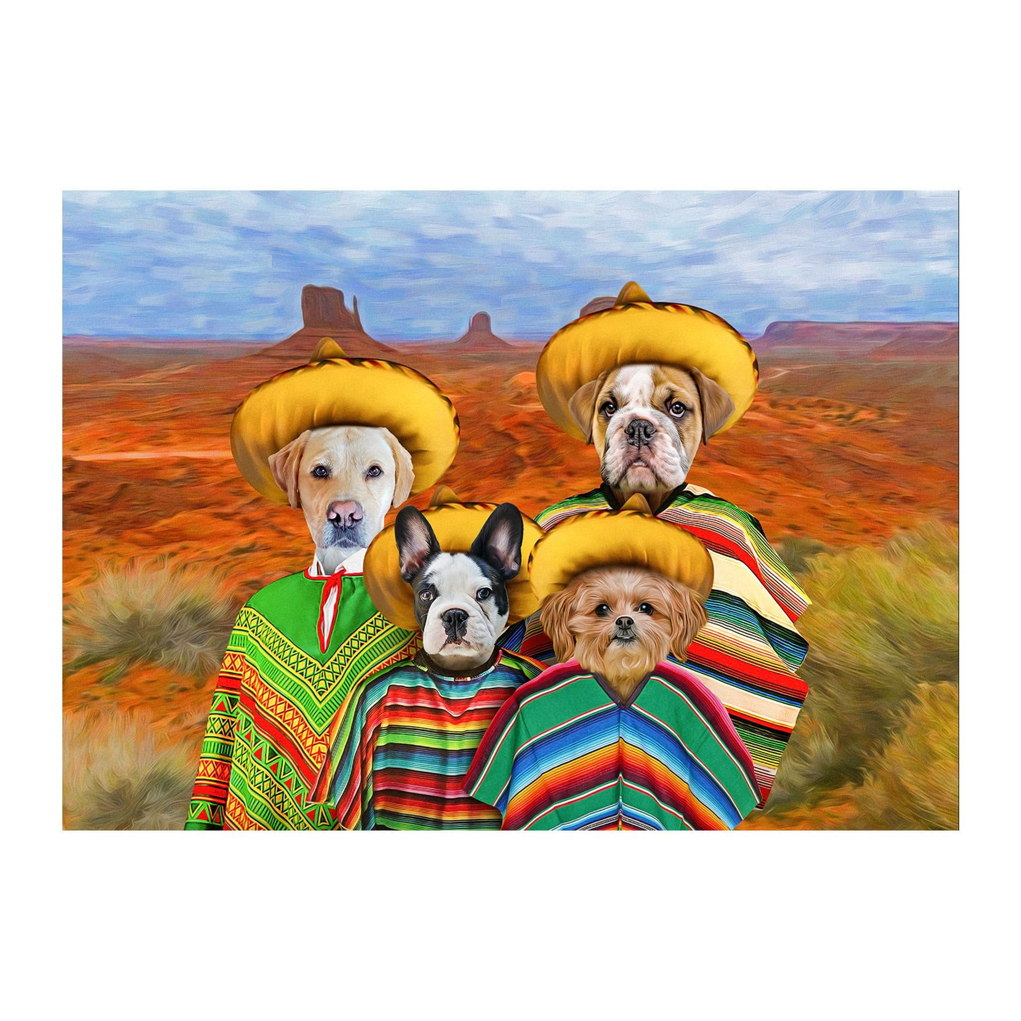 '4 Amigos' Personalized 4 Pet Digital Portrait