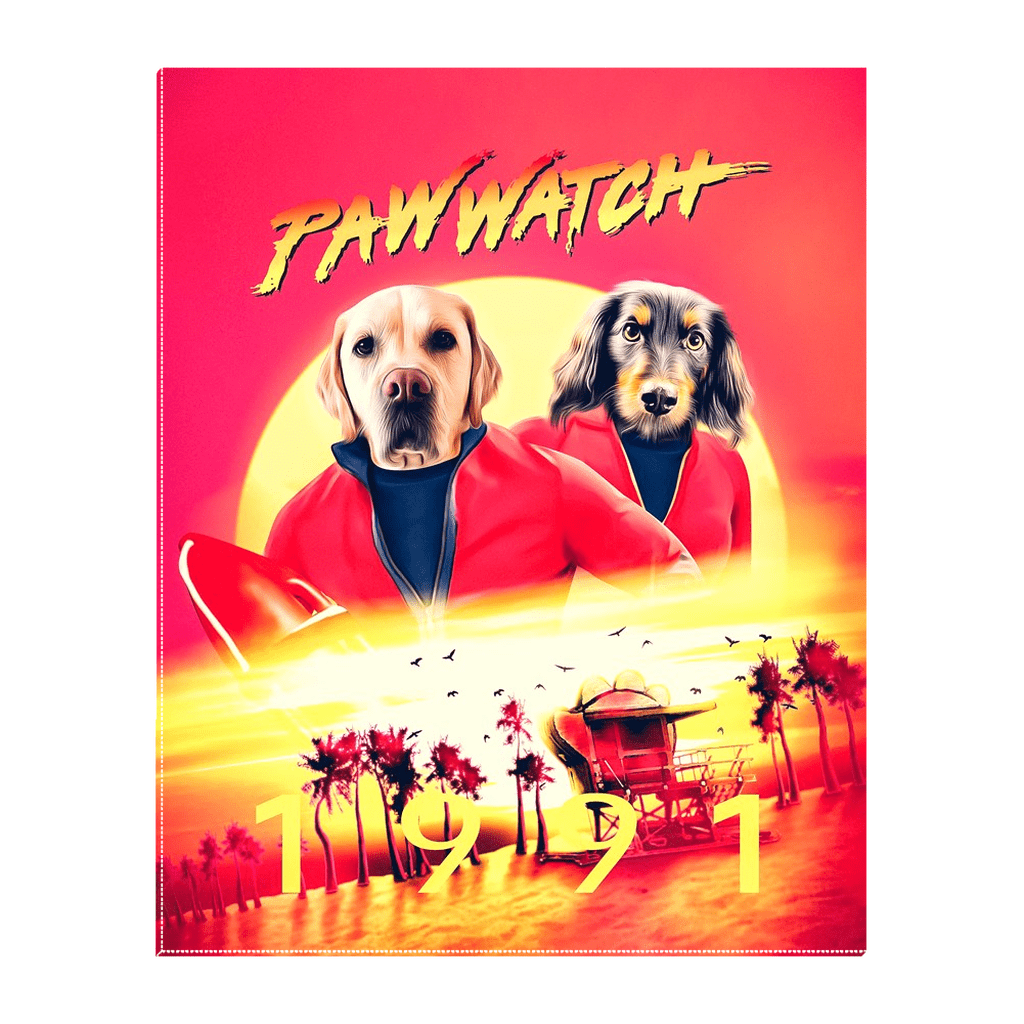 'Paw Watch 1991' Personalized 2 Pet Standing Canvas