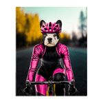 'The Female Cyclist' Personalized Pet Standing Canvas