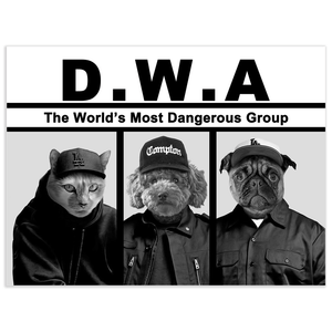 'D.W.A. (Doggos With Attitude)' Personalized 3 Pet Poster