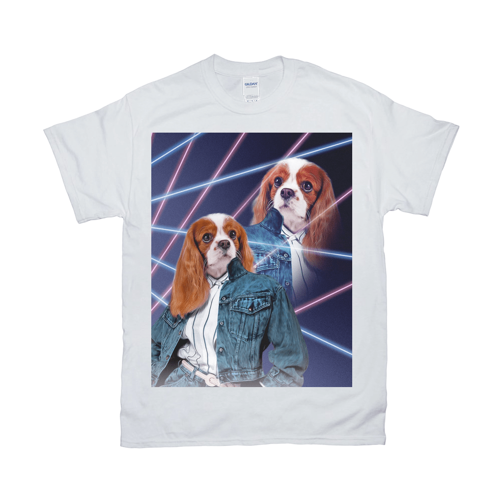 '1980s Lazer Portrait (Female)' Personalized Pet T-Shirt