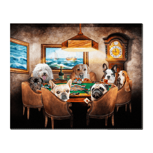 'The Poker Players' Personalized 7 Pet Standing Canvas
