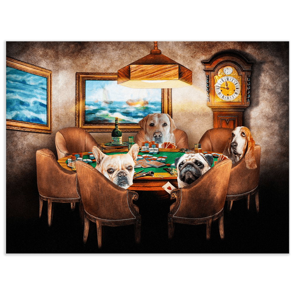 'The Poker Players' Personalized 4 Pet Poster