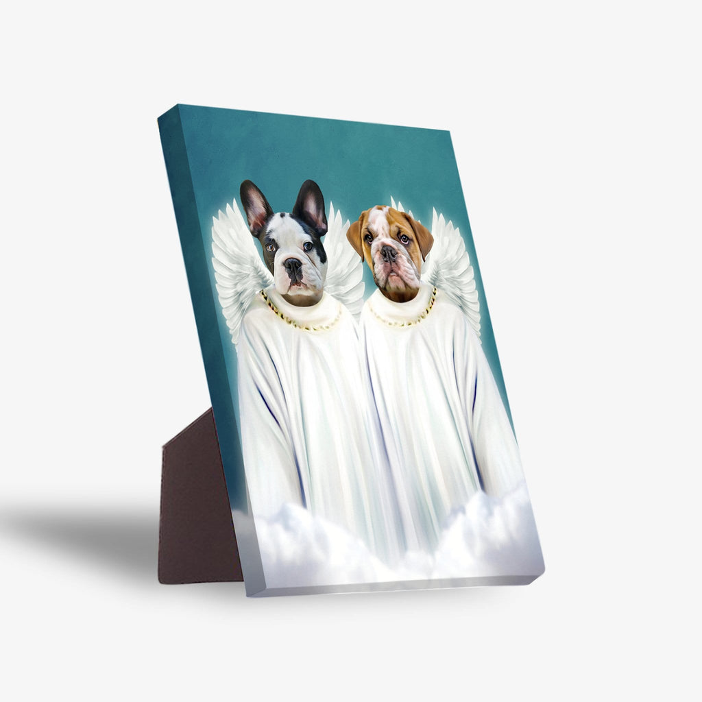 '2 Angels' Personalized 2 Pet Standing Canvas