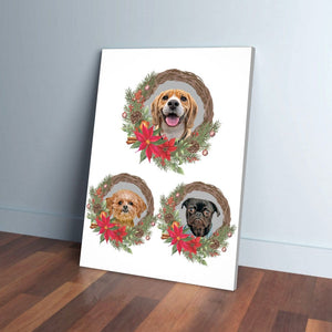 3 Pet Personalized Christmas Wreath Canvas