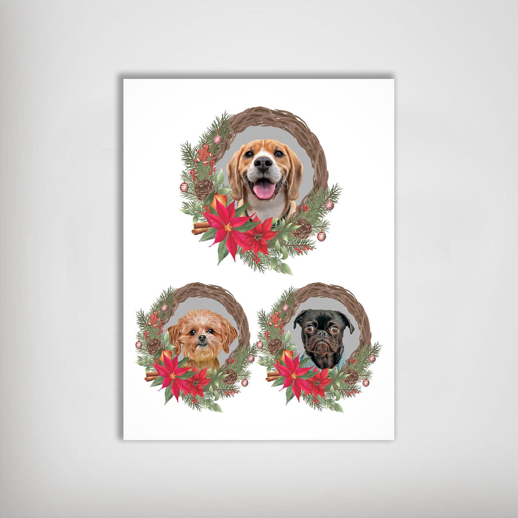 3 Pet Personalized Christmas Wreath Poster