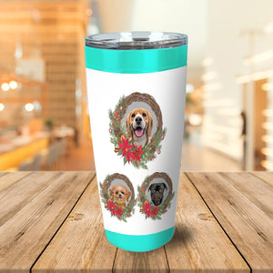 3 Pet Personalized Christmas Wreath Tumbler