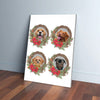 4 Pet Personalized Christmas Wreath Canvas