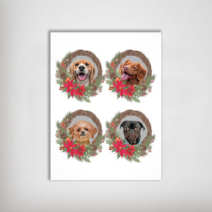 4 Pet Personalized Christmas Wreath Poster