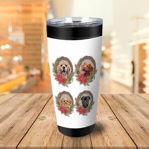 4 Pet Personalized Christmas Wreath Tumbler